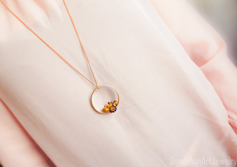Handmade Gold Lotus Necklace