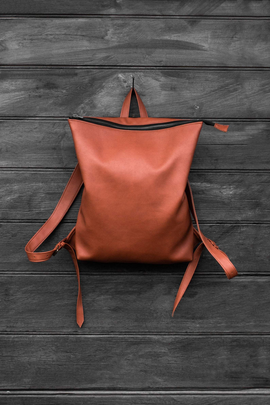 "Faux Leather ""Red Fox"" Backpack"