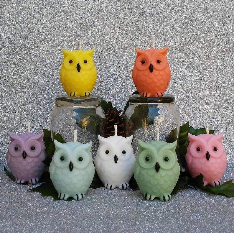 Candle - Scented Owl Candles- Set Of Seven