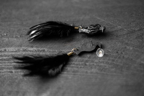Handmade Black Feather polymer clay Earrings