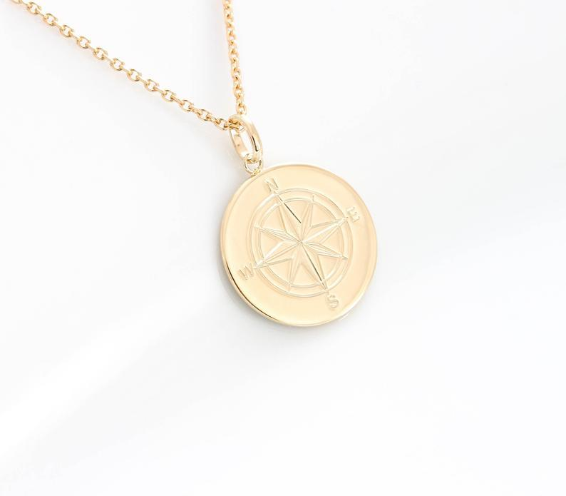 Handmade Gold Coin Compass Necklace