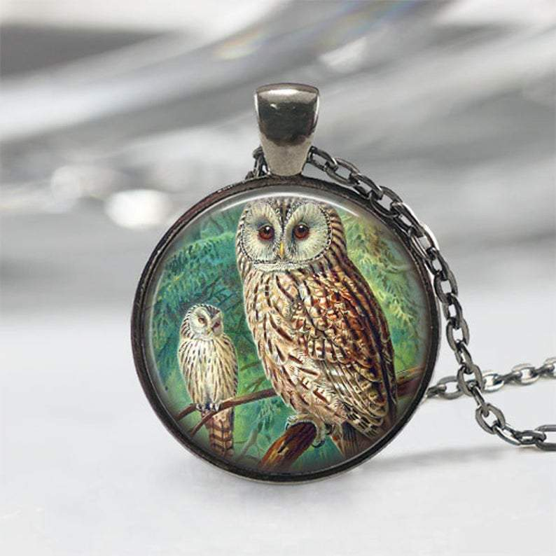 Handmade 2 Owls On Tree Necklace