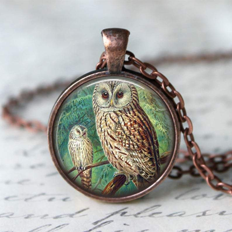 2 Owls On Tree Necklace