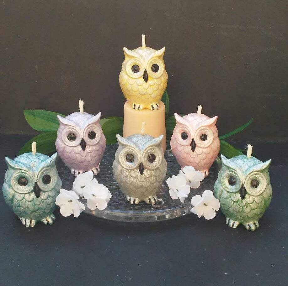 Handmade Owl Candles- Set of Six