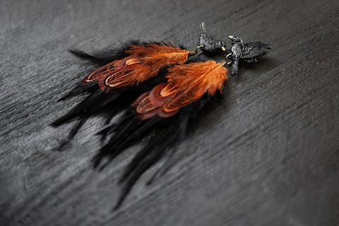 Handmade Blackbird long feather Earrings