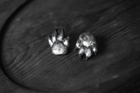 Paw of Grey wolf Earrings