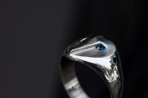 Handmade Owl Ring With Sapphire Eyes
