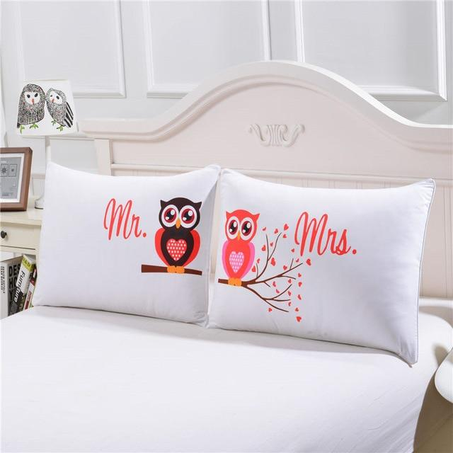 Pillow Cover - Body Pillowcase Mr And Mrs Owls Romantic Pillow Case
