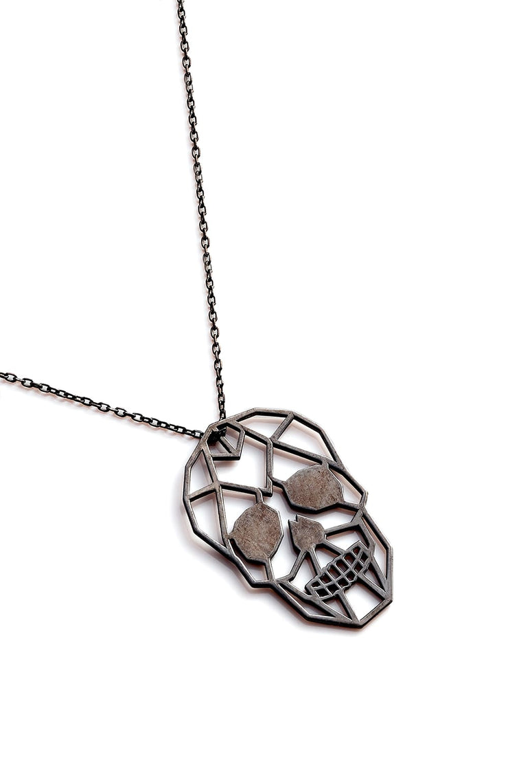 Skull Necklace - Black - Necklace