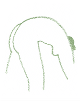 Outline of a woman bending forward in sage green on white background.