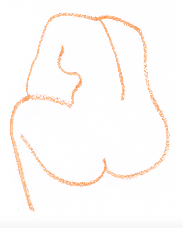 Outline of a woman's back in orange.