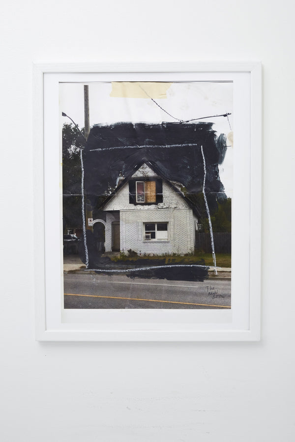 House seen from street, border drawn around it, framed.