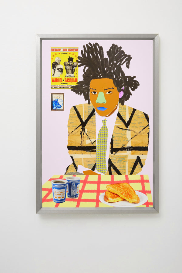 Basquiat's Break framed and hung on white wall.