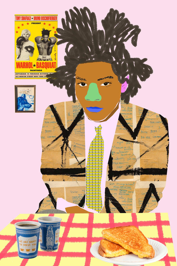 Colourful portrait of Jean Michel Basquiat at table with drink and grilled cheese.