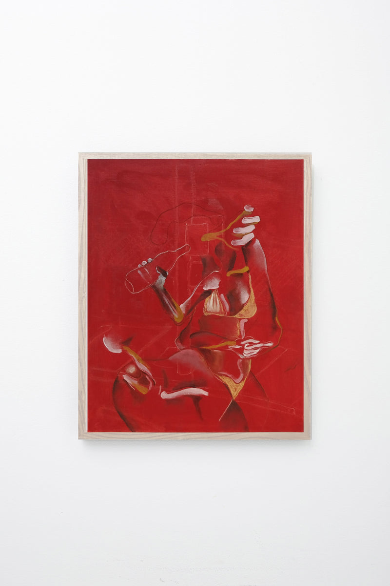 Fragmented human and animal forms on red background, framed.
