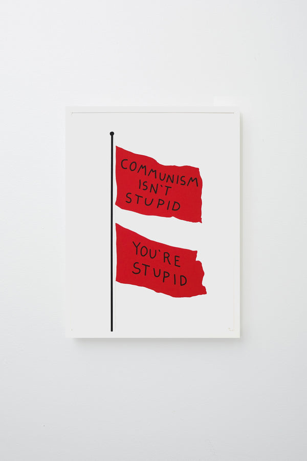 2 flags on a pole, flags read 'COMMUNISM ISN'T STUPID YOU'RE STUPID' in black text. Framed on white wall.