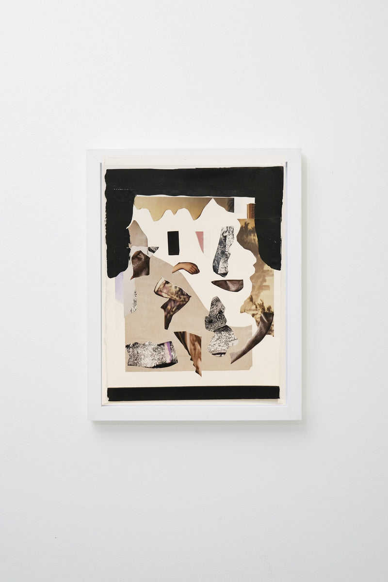 Collage of black and tan forms and body parts, framed on white wall.