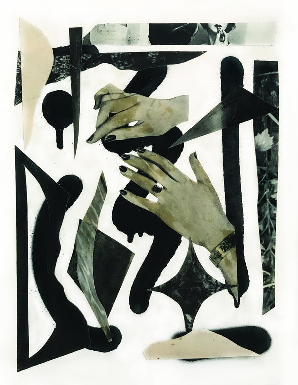 Collage of black and ivory forms, and hands on white background.