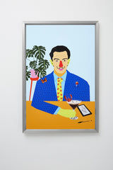 Colourful portrait of Salvador Dali at table with plant, butterfly, and espresso martini, framed on wall.