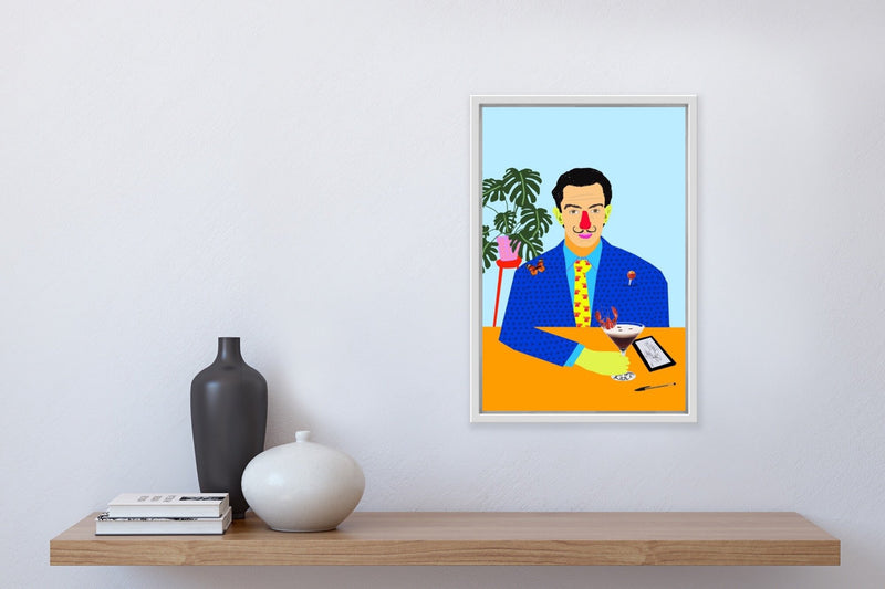 Colourful portrait of Salvador Dali at table with plant, butterfly, and espresso martini, framed in home.