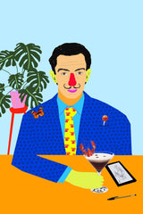 Colourful portrait of Salvador Dali at table with plant, butterfly, and espresso martini.