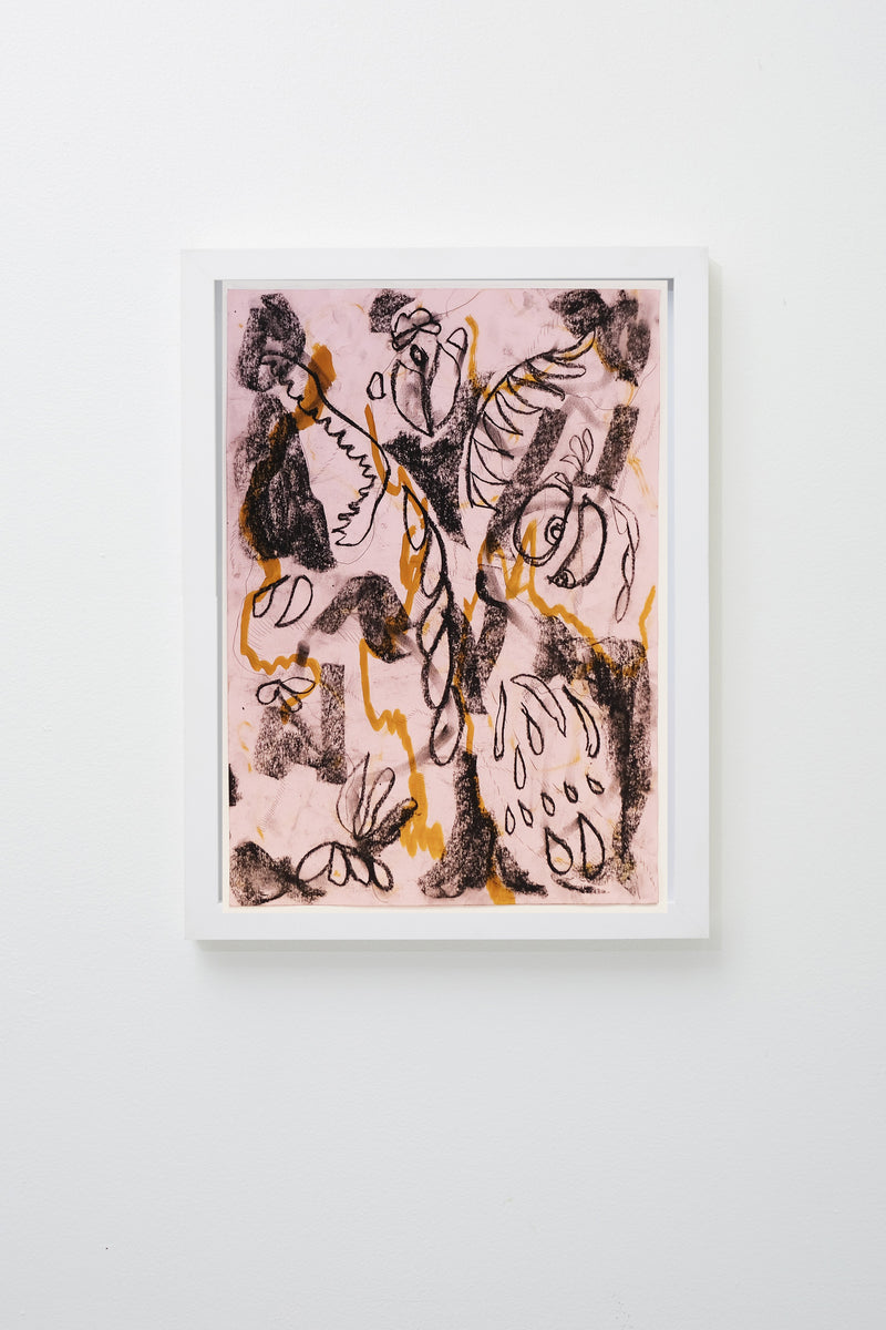 Black and orange lines reminiscent of teeth, flower petals, and insects set on a light pink background, framed.
