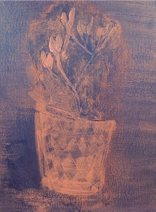 Pink and blue still life of plant, unframed.