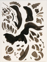 Abstract botanical forms in black and grey on white background, unframed.