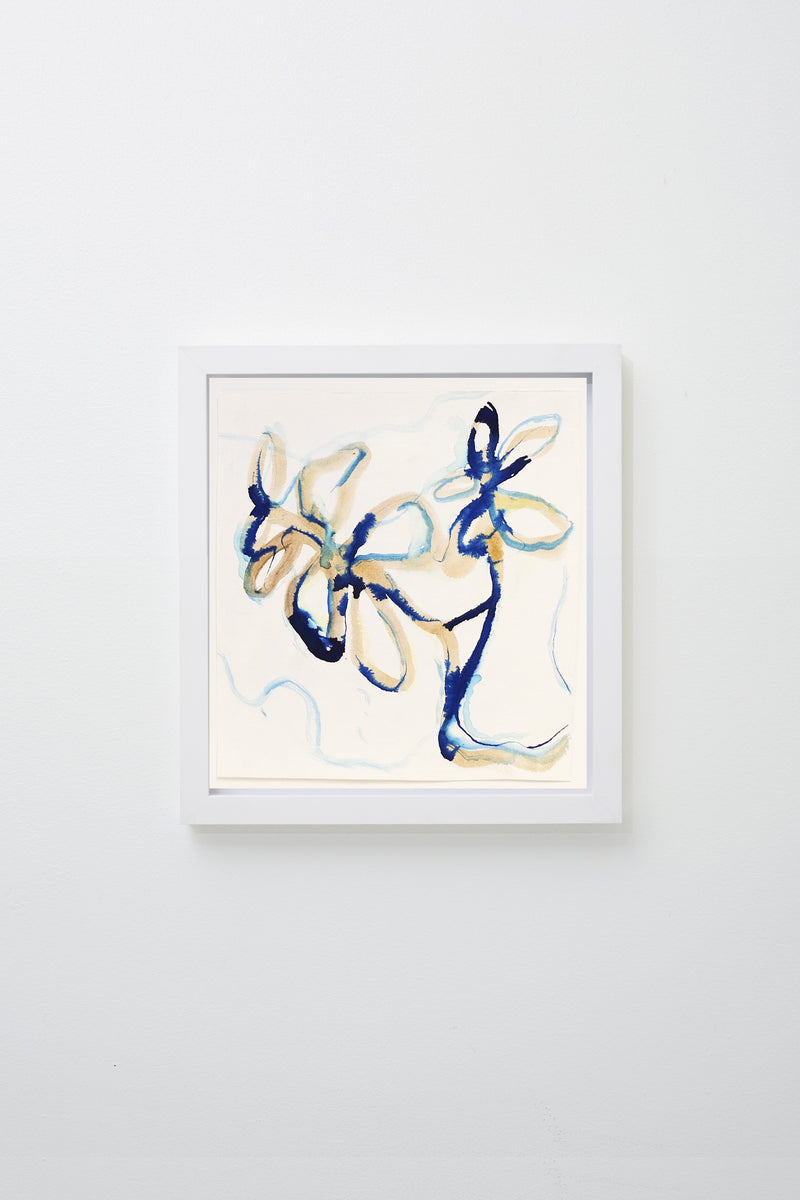Floral forms in yellow and blue on a white background, framed.