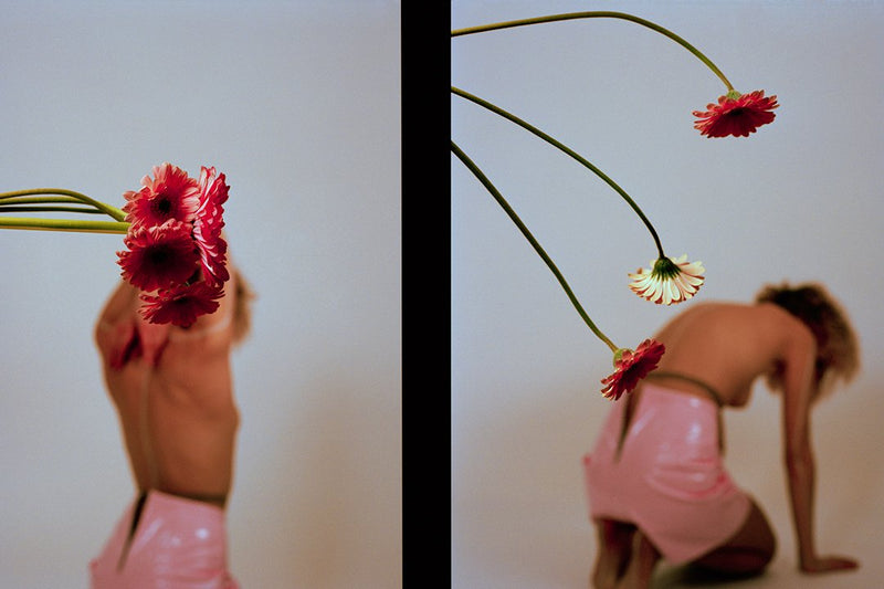 2 images of topless woman and Gerber daisies, unframed.