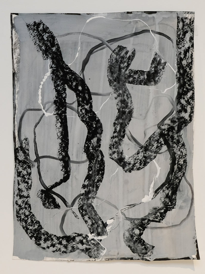 Drawing of black and white squiggly lines on grey background, unframed.