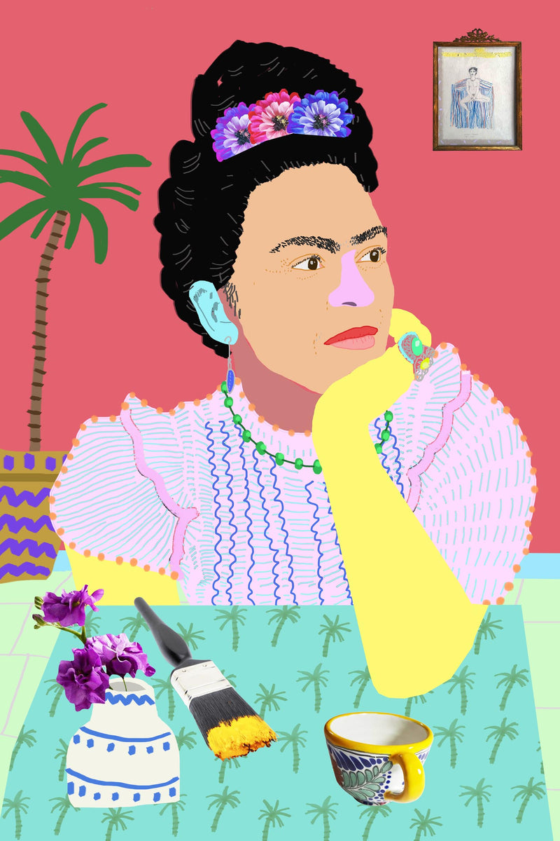 Colourful portrait of Frida Kahlo at table with paintbrush, teacup, and flowers in vase, unframed