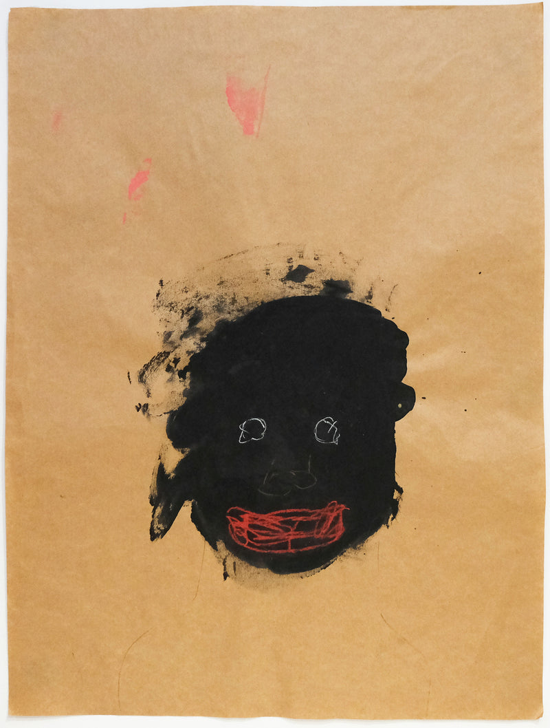 Head of Black figure with bright eyes and red lips on brown paper.