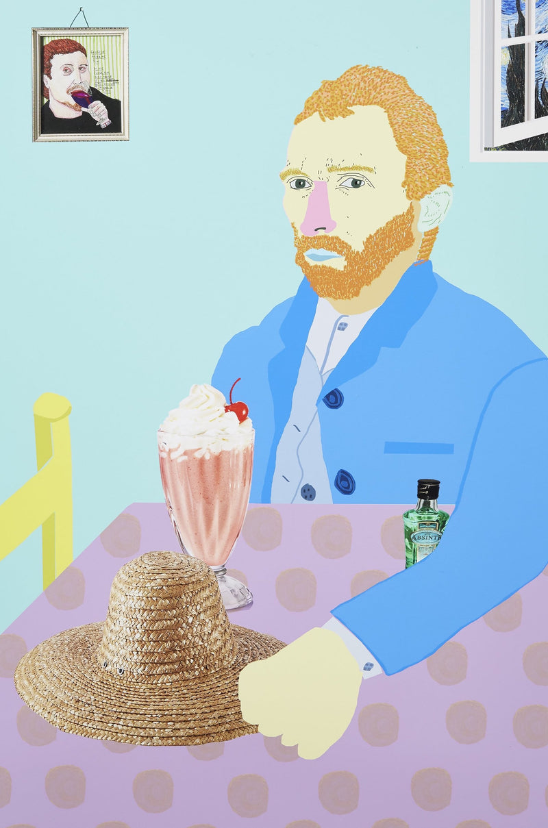 Colourful portrait of Vincent Van Gogh at table with ice cream and straw hat, unframed.