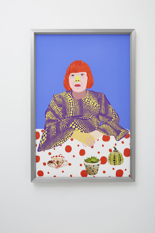 """Kusama Calmer"" (Colourful portrait of Yayoi Kusama at table with teacup and plant), framed."