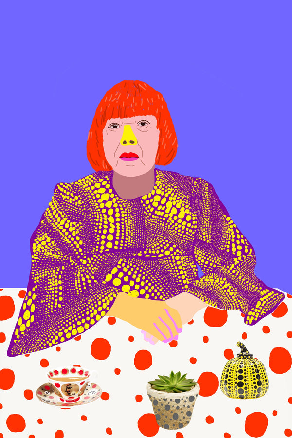 Colourful portrait of Yayoi Kusama at table with teacup and plant.