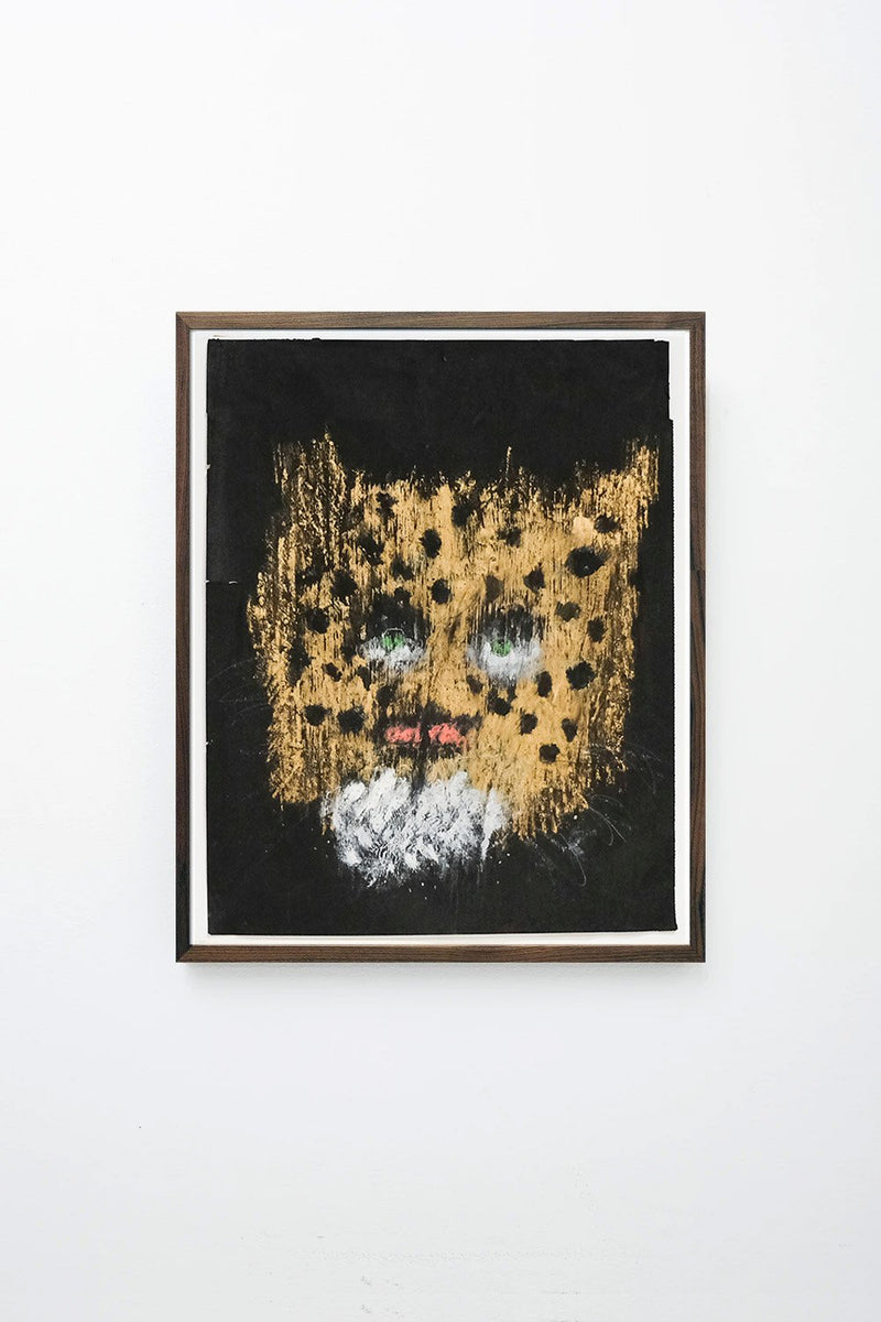"""Leopard"" (Golden leopard head on black background) framed."