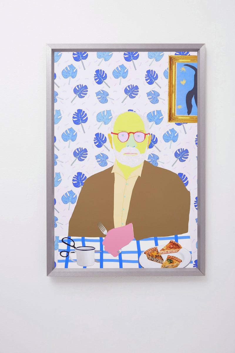 Colourful portrait of Henri Matisse at table with quiche, scissors, mug, framed.