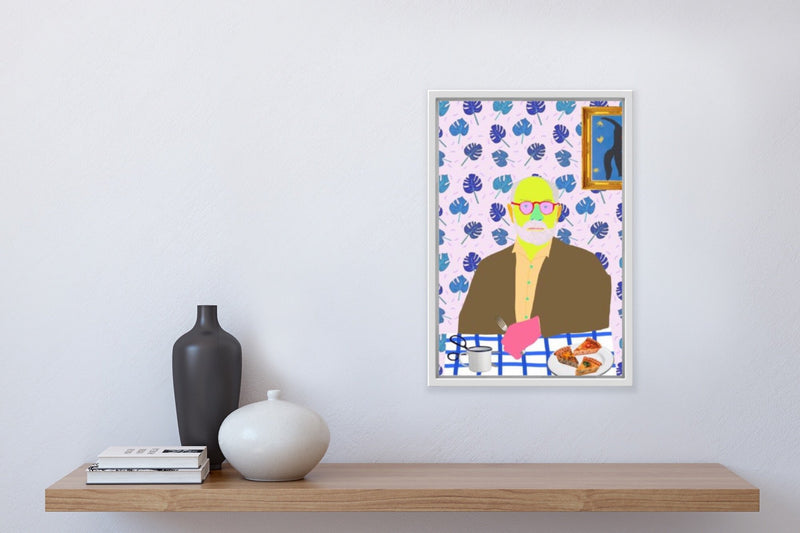 Colourful portrait of Henri Matisse at table with quiche, scissors, mug, installed in home.