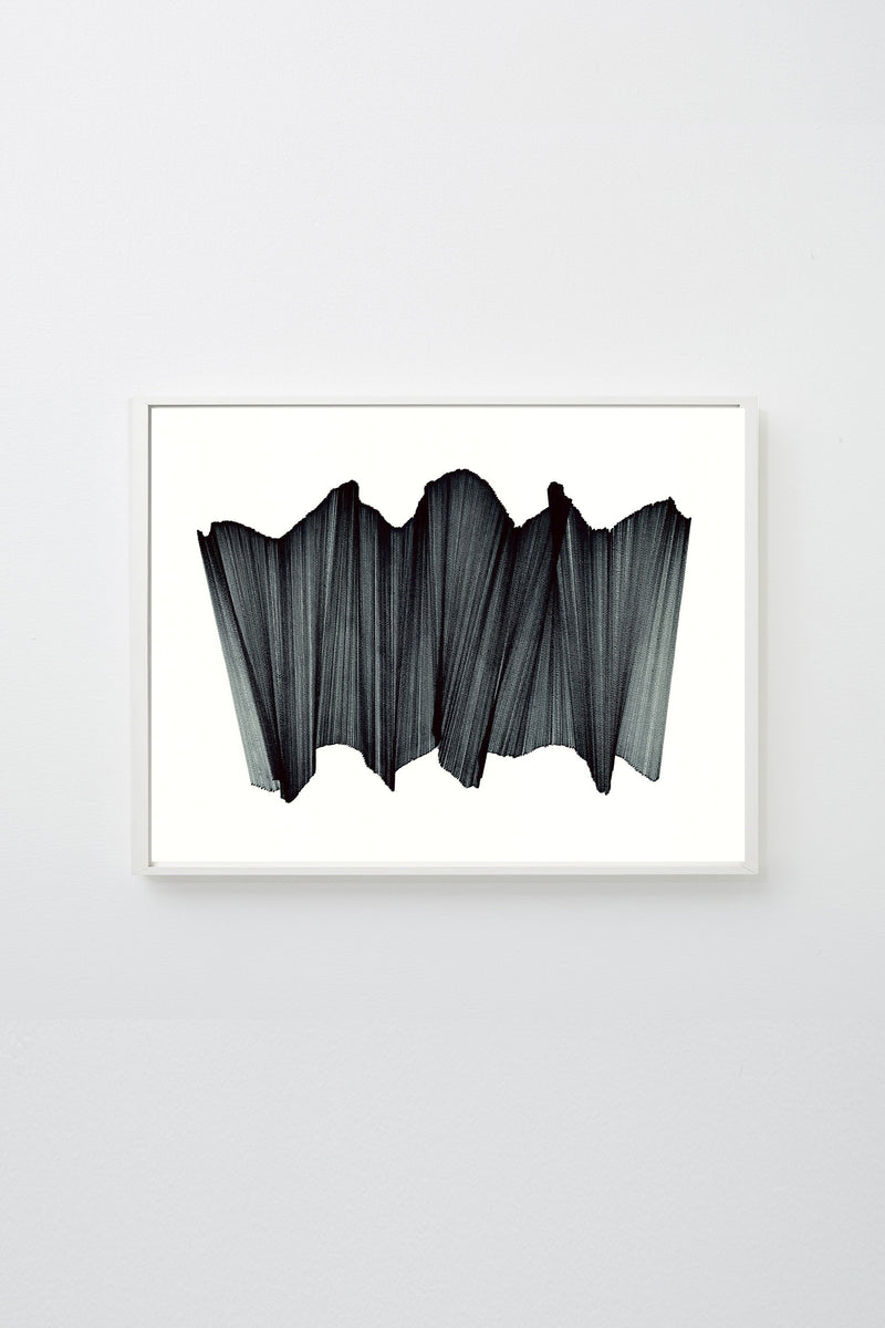 """Migration 19"" (Black lines intersecting on white paper, appearing to float), framed."