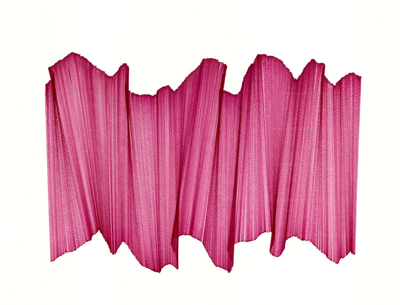 Pink lines intersecting on white paper, appearing to float.