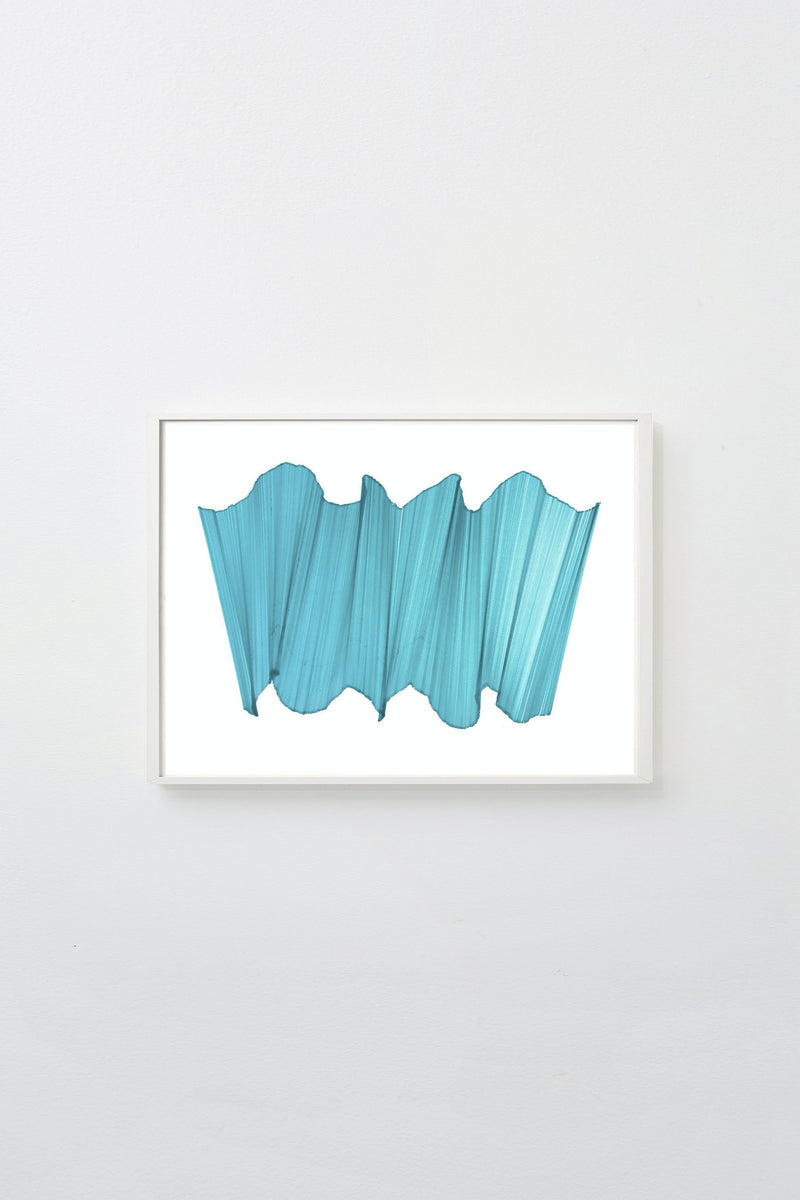 """Migration 25"" (Turquoise longs intersect on white paper, appearing to float), framed."