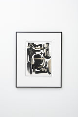 """Mutual Life"" (Black and white collaged forms on white background, text reads ""mutual life""), framed"