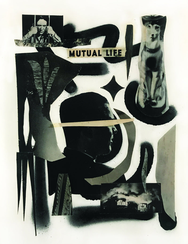 "Black and white collage of figures and abstract forms on white background, text reads ""mutual life"""