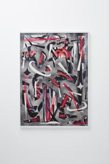"""Negative Space"" (Chaotic red, white, and black linear, abstract forms), framed on wall."