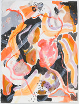 Abstract forms in black, peach, orange, blue, and white intertwine on the page.