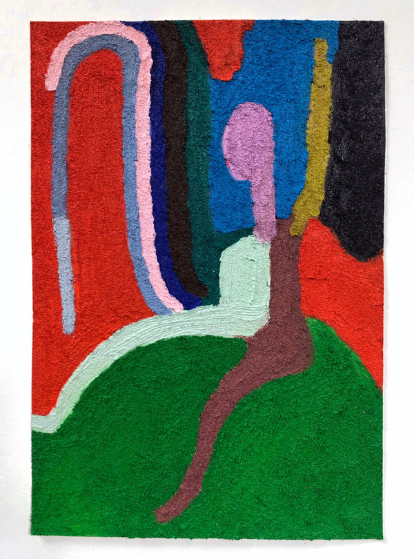 Highly textured abstract form sits and plays with surroundings. Colourblocks of blue, green, red, and brown.