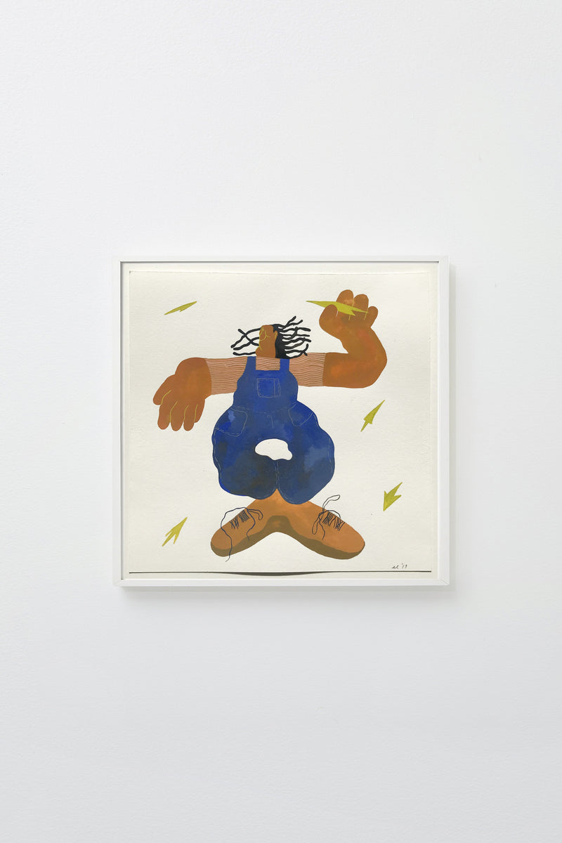 """Playing Boy"" (Figure in blue overalls with exaggerated hands and feet), framed."