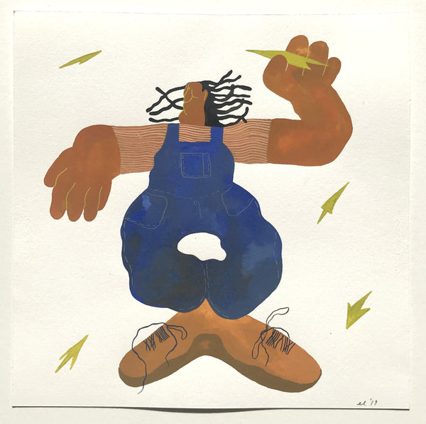 Figure in blue overalls with exaggerated hands and feet.