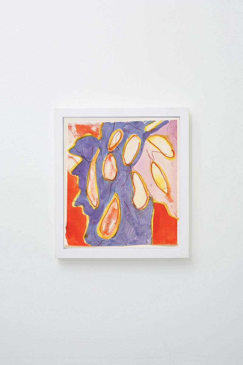 """Poprocks"" (Botanical abstracted forms in red-orange, pink, yellow, and blue), framed."